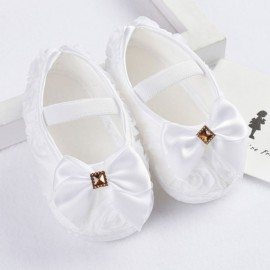 Bejeweled Moccasins with Bow - White