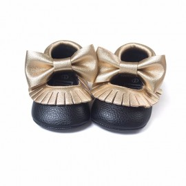 Black and Gold Moccasins with Bow