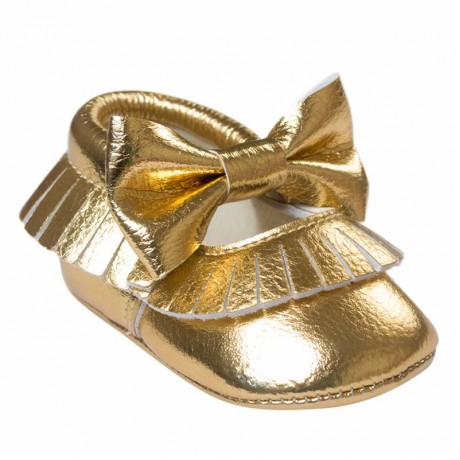 Gold Moccasins with Bow