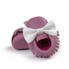 Lilac and White Moccasins with Bow