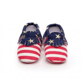 Fringe Moccasins - Red, White and Blue