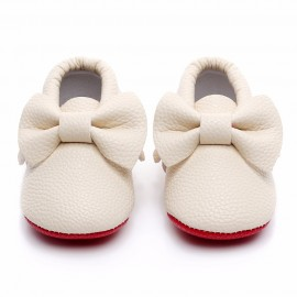 Cream Red Bottom Moccasins with Bow