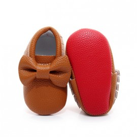 Brown Red Bottom Moccasins with Bow
