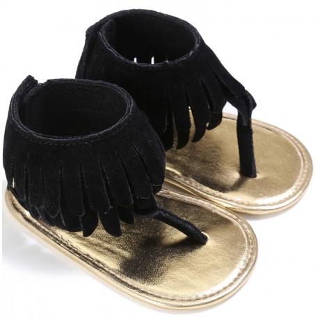 Soft Bottom Sandal Moccasins - Black