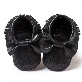Sequins Moccasins with Bow - Black