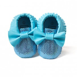Sequins Moccasins with Bow - Blue
