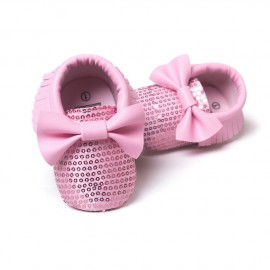 Sequins Moccasins with Bow - Pink
