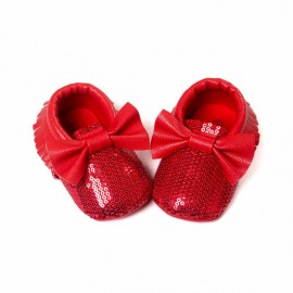 Sequins Moccasins with Bow - Red