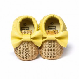 Sequins Moccasins with Bow - Yellow