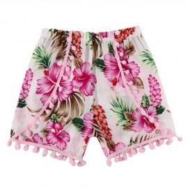 Floral Pom Shorts  - Pink