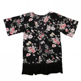 Floral Cover Up - Black/Red