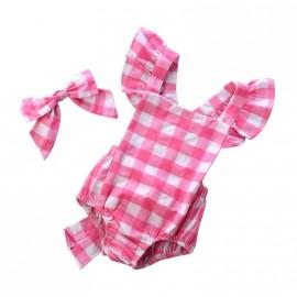 Checkered Onesie - Pink/White