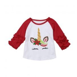 Unicorn Ruffle Sleeve - Red/White