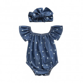 Blue with white hearts and headband