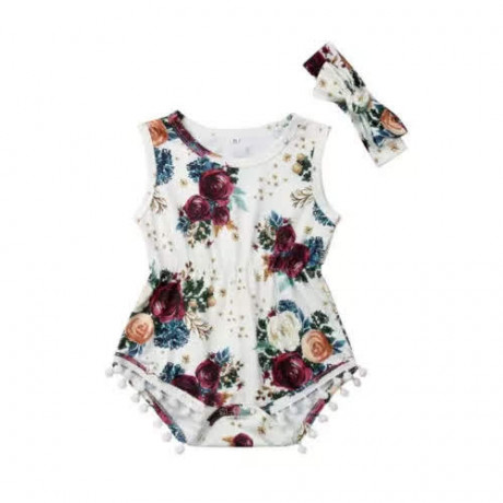 Floral Onesie - White/Purple with Headband