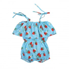 Blue Strawberry Romper