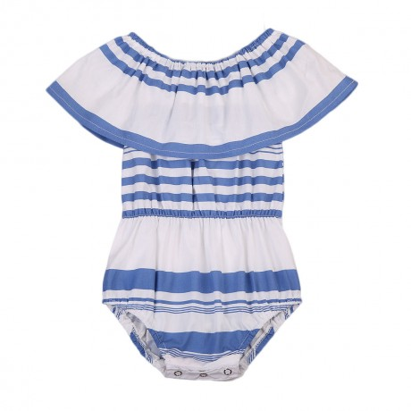 Blue and White Striped Baby Romper