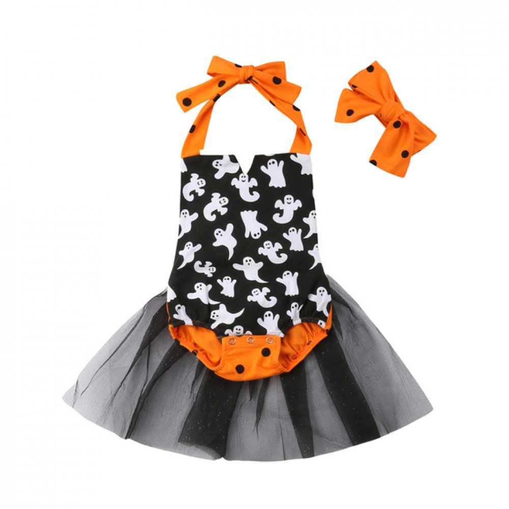 ghost halloween romper headband included