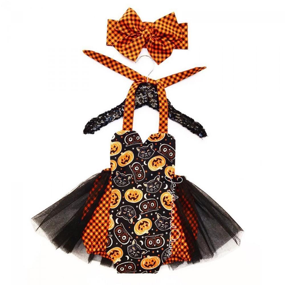 pumpkin halloween romper headband included
