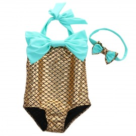 Gold and Teal Mermaid One-Piece