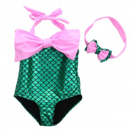 Green and Pink Mermaid One-Piece